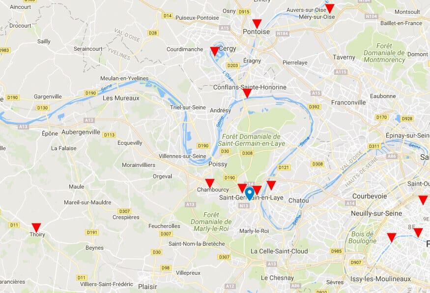 Carte de lieux des formations Photo Stage